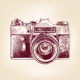 Uitstekende oude vectorllustration van de fotocamera Stock Fotografie