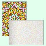 Uitstekende pamfletten met mandalapatroon op turkooise achtergrond Royalty-vrije Stock Afbeeldingen