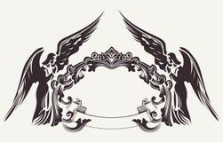 Uitstekende Pasen-Kaderillustratie en Twee Engelen stock illustratie