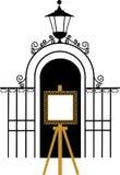 Uitstekende poort aan het park met tekeningsschildersezel Royalty-vrije Stock Foto