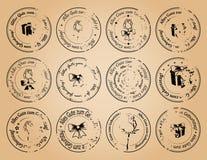 Uitstekende postzegels gelukkige verjaardag op het Duits - vector grunge royalty-vrije illustratie