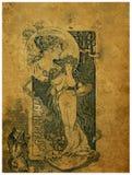 Uitstekende prentbriefkaar. Stock Afbeeldingen