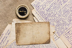 Uitstekende prentbriefkaar en brieven royalty-vrije stock foto's