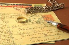 Uitstekende prentbriefkaar en pen 2 Royalty-vrije Stock Afbeeldingen