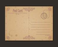 Uitstekende prentbriefkaar en postzegel Ontwerp Stock Fotografie