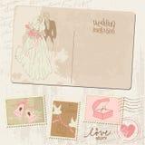 Uitstekende Prentbriefkaar en Postzegels Royalty-vrije Stock Afbeeldingen