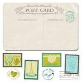 Uitstekende Prentbriefkaar en Postzegels Stock Foto's