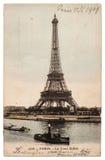 Uitstekende prentbriefkaar met beeld van de Toren van Eiffel in Parijs Royalty-vrije Stock Afbeelding