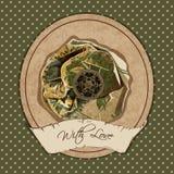 Uitstekende prentbriefkaar met bloem Royalty-vrije Stock Foto