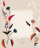 Uitstekende prentbriefkaar met bloemen op gestreepte achtergrond Stock Afbeelding