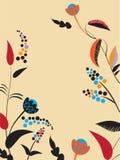 Uitstekende prentbriefkaar met bloemen. vector illustratie Stock Afbeeldingen