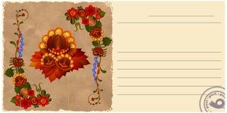 Uitstekende prentbriefkaar met bloemenpatronen Stock Afbeeldingen
