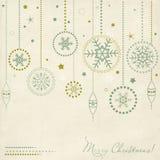 Uitstekende prentbriefkaar met de elementen van Kerstmis Stock Foto