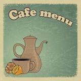 Uitstekende prentbriefkaar met een kop van koffie en citroen. Royalty-vrije Stock Foto