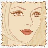 Uitstekende prentbriefkaar met een meisje. Royalty-vrije Stock Afbeelding