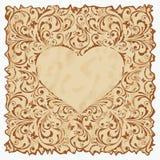 Uitstekende prentbriefkaar met hart. Stock Afbeeldingen