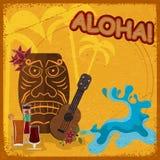 Uitstekende prentbriefkaar met het kenmerken van Hawaiiaanse maskers, gitaren Stock Foto's
