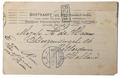 Uitstekende prentbriefkaar van Nederlandse Oost-Brits-Indië Stock Foto