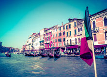 Uitstekende Prentbriefkaar van Venetië Grand Canal Royalty-vrije Stock Afbeeldingen