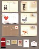 Uitstekende prentbriefkaarontwerpen, liefdeprentbriefkaar Stock Foto