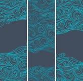 Uitstekende reeks banners met etnische golven stock illustratie