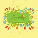 Uitstekende reeks bloemen, linten, kaders stock illustratie