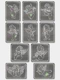Uitstekende reeks Engelen, St de kaarten van de Valentijnskaartengroet vector illustratie
