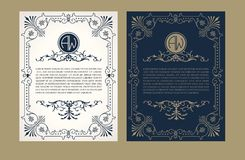uitstekende reeks Groetkaart met het etiket van het monogramembleem en kader voor gebruiksbanner van hoteletiket, de kuuroorddien royalty-vrije illustratie