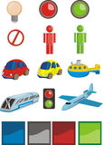 Uitstekende reeks pictogrammen - Vervoer Stock Afbeelding