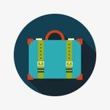 Uitstekende reiskoffers, vlak pictogram met lange schaduw Stock Foto's