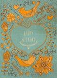 Uitstekende retro achtergrond met bloemenornament en hart in m Stock Foto's