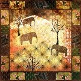 Uitstekende, retro achtergrond van het lapwerk de Afrikaanse patroon grunge Royalty-vrije Stock Afbeeldingen