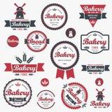 Uitstekende retro bakkerijkentekens en etiketten. vector illustratie