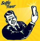 Uitstekende retro clipart: Selfiekoorts! De mens neemt een selfie met smartphonecamera vector illustratie