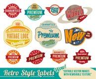 Uitstekende retro etiketten en markeringen Stock Fotografie