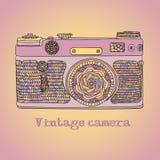 Uitstekende retro fotocamera met bladerenpatroon Het ontwerp van de Mandalastijl De vectorillustratie van de Bohostijl Stock Foto