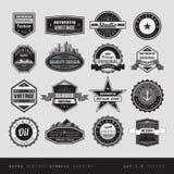 Uitstekende retro geïsoleerd etiketten zwart-wit Stock Fotografie