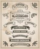Uitstekende retro hand getrokken banners Stock Foto's