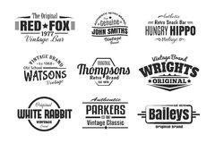 9 uitstekende Retro Insignes Royalty-vrije Stock Afbeelding