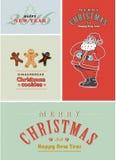 Uitstekende retro Kerstkaartreeks Ouderwetse Santa Claus, peperkoek en het oude stijl van letters voorzien Stock Fotografie
