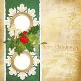 uitstekende retro Kerstmisachtergrond Stock Afbeeldingen