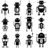 Uitstekende retro robots 2 die pictogrammen in zwart-wit worden geplaatst Royalty-vrije Stock Fotografie