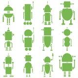 Uitstekende retro robots 2 vlakte in groen Stock Foto