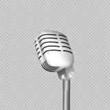Uitstekende retro stadiummicrofoon - Webpictogram oud technologieobjecten concept Ontwerpteken, de vector geïsoleerde illustratie Stock Afbeelding