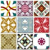 Uitstekende retro vastgestelde inzameling 006 van het keramische tegelpatroon stock illustratie