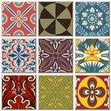Uitstekende retro vastgestelde inzameling 055 van het keramische tegelpatroon vector illustratie