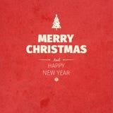 Uitstekende retro vlakke stijl in Vrolijke Kerstkaart en de groet van de Nieuwjaarwens Stock Afbeelding