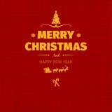 Uitstekende retro vlakke stijl in Vrolijke Kerstkaart en de groet van de Nieuwjaarwens Royalty-vrije Stock Afbeeldingen