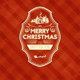 Uitstekende retro vlakke stijl in Vrolijke Kerstkaart en de groet van de Nieuwjaarwens Stock Foto's