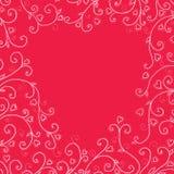 Uitstekende rode achtergrond met harten Stock Foto